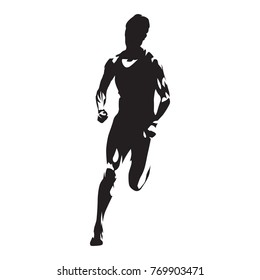 Running woman, abstract sprinting woman vector silhouette