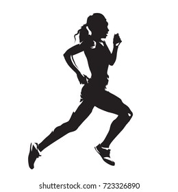 Running woman, abstract vector silhouette