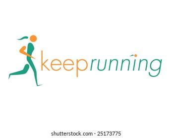 Running Woman Design Element
