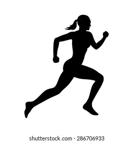 Running woman or female fitness runner flat vector icon for exercise apps and websites