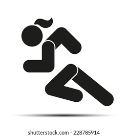 Running woman or girl. Simple symbol of run isolated on a white background. Vector Illustration.
