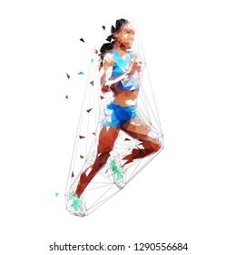 Running woman, isolated low polygonal vector illustration. Marathon run, geometric shape