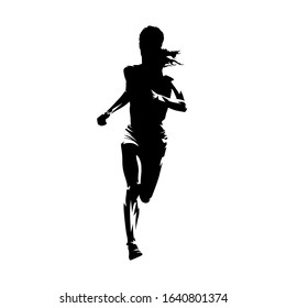 Running woman, isolated vector silhouette. Front view. Female runner