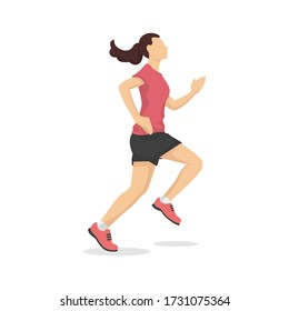 Running woman in modern style vector illustration, healthy person simple flat shadow isolated on white background.
