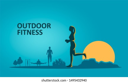 Running woman and mountains. Sunrise landscape. Sport and recreation concept. Outdoor fitness text
