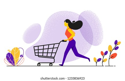 Running woman pushing shopping cart. Concept business vector illustration in flat style