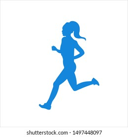 Running woman side view vector silhouette. Illustration of running woman. Sport, fitness sign. Vector web design. Isolated on background