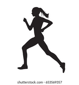 Running woman side view vector silhouette