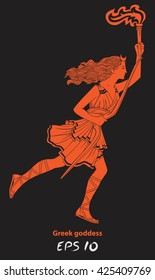 Running woman with a torch in her hand. Woman archer. The Greek goddess - Artemis. Goddess of the Greek pantheon. The character of the pagan pantheon. Red female figure on a black background.