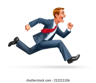 running young man businessman cartoon wow excited surprised happy amazed smile successful leader vector
