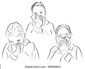 Runny nose at the girl, allergies, colds,girl holding a handkerchief. Color vector illustration.