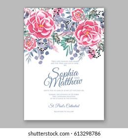 Rununculus rose  wedding invitation card printable template with mint greenery eucalyptus