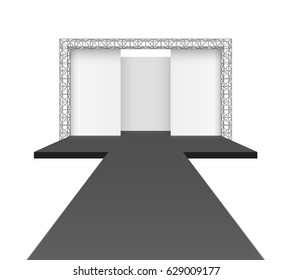 Runway podium stage, empty catwalk with black stage and background on truss system, vector illustration