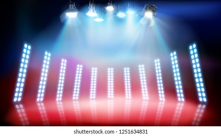 Runway show. Place for the exhibition illuminated by spotlights. Vector illustration.
