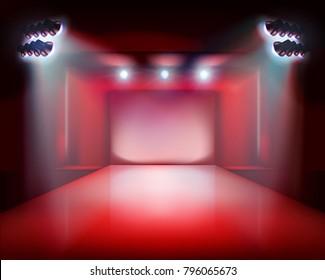 Runway show, stage lights. Vector illustration.