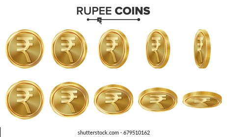 Rupee 3D Gold Coins Vector Set. Realistic Illustration. Flip Different Angles. Money Front Side. Investment Concept. Finance Coin Icons, Sign, Success Banking Cash Symbol. Currency Isolated On White