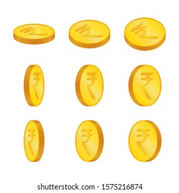 Rupee. 3D isometric Physical coins. Currency. Golden coins with Rupee symbol isolated on white background. Vector illustration. INR