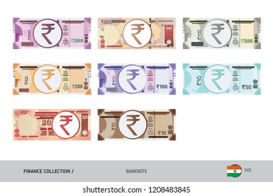 Rupee Banknotes set. Flat style highly detailed vector illustration. Isolated on white background. Suitable for print materials, web design, mobile app and infographics.