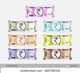 Rupee Banknotes set. Indian currency symbol. Flat style Indian 10, 20, 50, 100, 200, 500 and 2000 rupee vector illustration. New Indian Banknotes set.