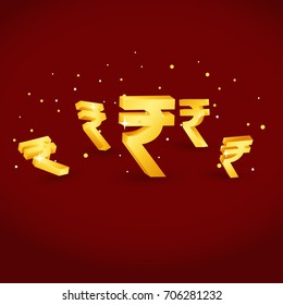 rupee currency 3D gold