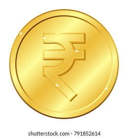 Rupee currency gold coin. Indian currency. Vector illustration isolated on white background. Editable elements and glare. Suitable for casino game. Rich EPS 10