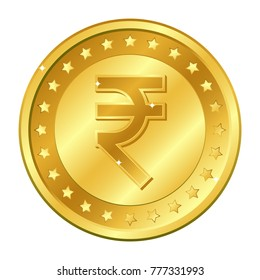 Rupee currency gold coin with stars. Indian currency. Vector illustration isolated on white background. Editable elements and glare. Suitable for casino game. Rich EPS 10
