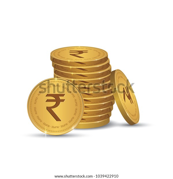 Rupee Gold coin Stack. Financial growth concept with golden coin Rupee.