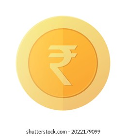 Rupee Gold Coins. Indian Money symbol. INR Currency Sign. Flat 3D Design Coins. Vector illustration.