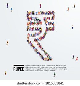 Rupee Sign. Large group of people form to create Indian rupee sign. Vector illustration. Currency of India.