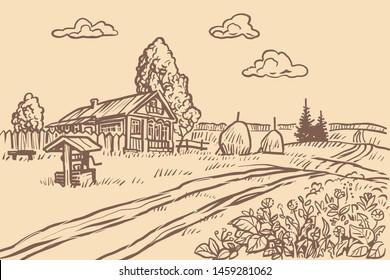 rural agricultural field, vintage engraving. Pop art retro vector illustration vintage kitsch