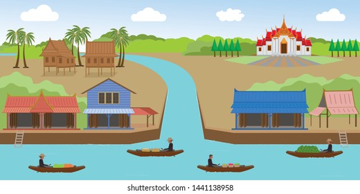 Rural areas of Thailand along the canal