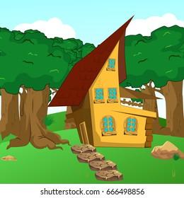 Rural Cartoon Forest Cabin Landscape vector illustration