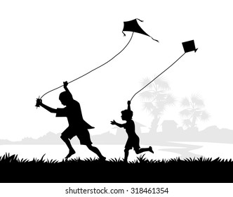 Rural Children Flying Kites