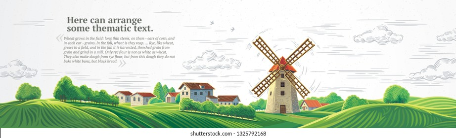 Rural colorful landscape with a mill and graphically drawn monochrome sky.