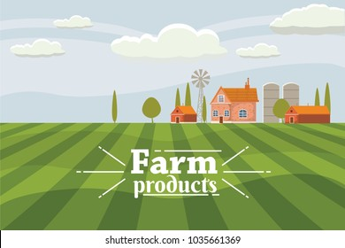 Rural countryside with a farm. Vector, illustration, isolated