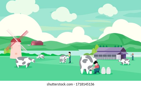 Rural dairy farm That is perfect in the green field, vector illustration and flat coloring design.
