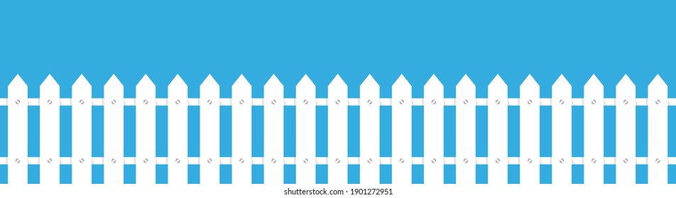 Rural fence wooden in flat style. White fence picket silhouettes Isolated on blue background. Cartoon vector illustration.