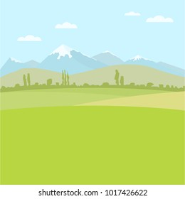 Rural field landscape for use as a background image. Flat color vector illustration.