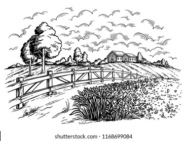 rural field with ripe wheat on background of mill and village, clouds. Color vector illustration