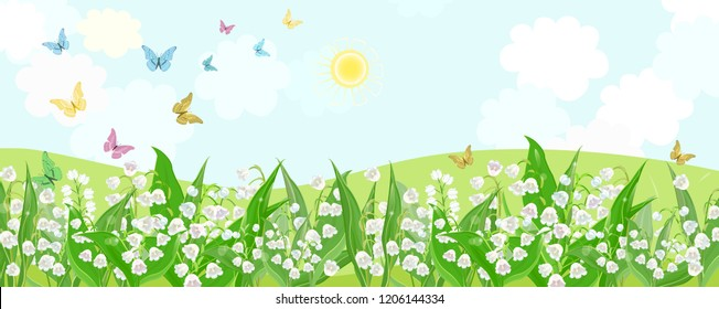 rural fields with flowering lilies of the valley and flying butterflies.