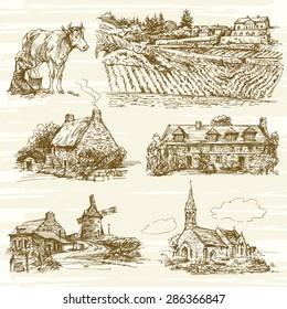 rural France landscape - hand drawn set