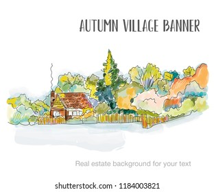 Rural house sketch for the real estate background. Vector graphic illustration