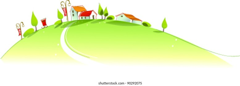 Rural houses on green mountain