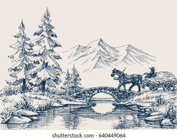 Rural idyllic landscape, horse cart crossing the river
