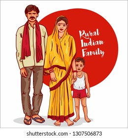 rural indian family vector illustration. indian village life