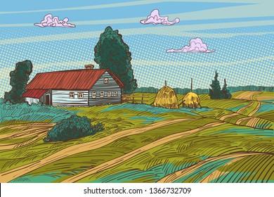 rural landscape autumn field village houses. Pop art retro vector illustration vintage kitsch 50s 60s