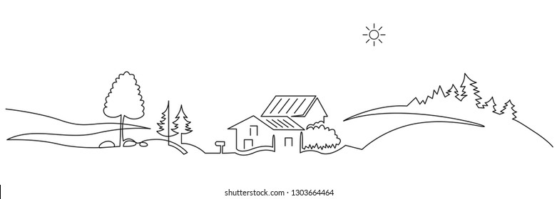 Rural landscape continuous one line vector drawing. Hills, houses, car trip hand drawn silhouette. Country nature panoramic sketch. Village minimalistic contour illustration. Isolated design element