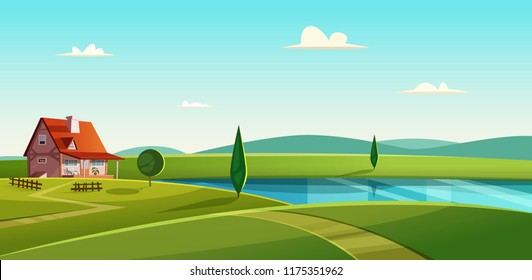 Rural landscape with cottage on the lake. Country house on the lakeshore. Farmland vector illustration.