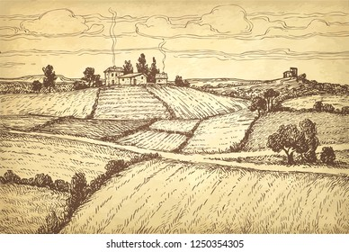 Rural landscape. Countryside scenery. Hand drawn ink sketch on old paper background. Retro style vector illustration.