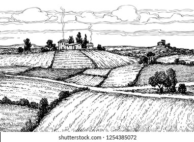 Rural landscape. Countryside scenery. Hand drawn ink sketch. Retro style vector illustration.